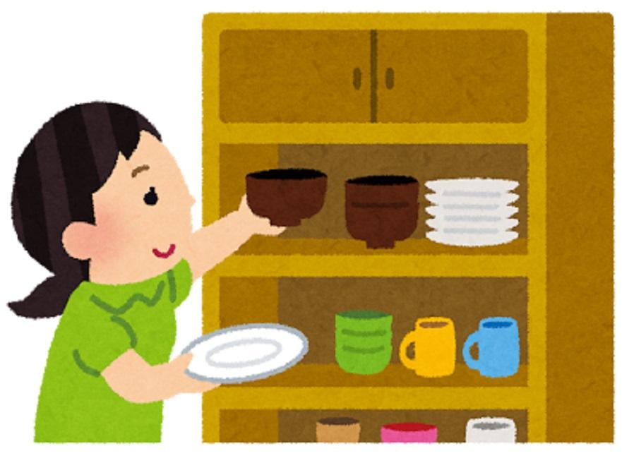地震に強い食器の重ね方